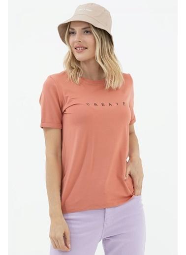 Sementa Baskılı Sıfır Yaka Basic Tshirt - Somon Somon
